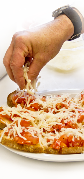 Frank Taranto makes fresh Bruschetta every day at Pasta e Vino